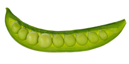 snap bean: sugar snap peas on white isolated