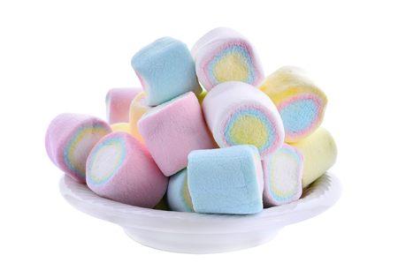 a group of mini marshmallows on white