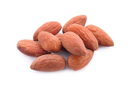 almonds baked salt on a white background