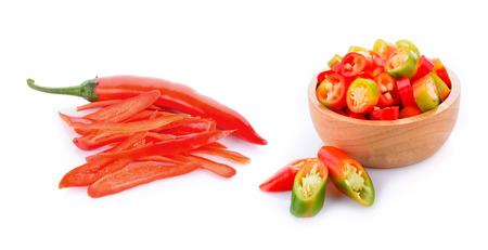 Red chili peppers isolated on white background.