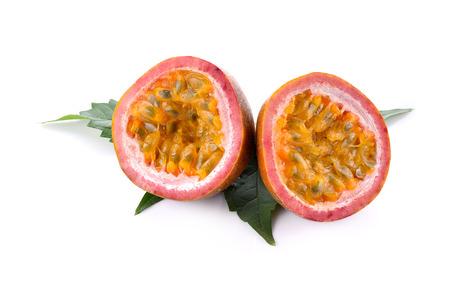 Pasion fruit - maracuya sliced isolated on white background Фото со стока