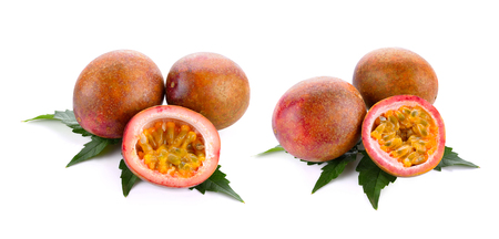 Pasion fruit - maracuya sliced on a white background