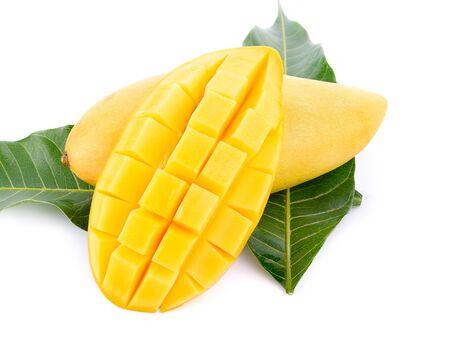 Sweet mango isolated on white background.