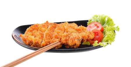 Tonkatsu or pork fried isolated on white background. Фото со стока
