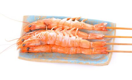 Tiger shrimps. Prawns with isolated on a white background.