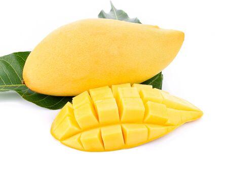 Yellow ripe mango isolated on white background. Фото со стока