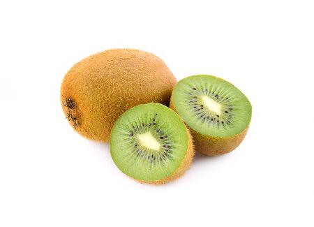 Fresh kiwi isolated on white background.