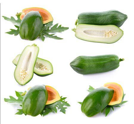 Raw papaya isolated on white background.