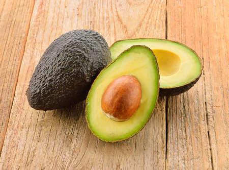 Avocado closeup on a wooden background