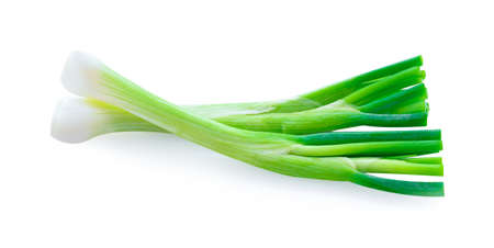 Spring onions isolated on a white background.