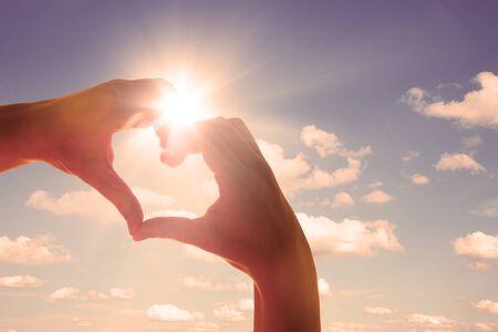 Hands in shape of love heart 스톡 콘텐츠