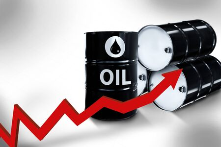Metal oil barrels. Oil, gas and petroleum industry and manufacturing.