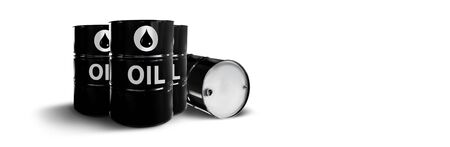 Metal oil barrels. Oil, gas and petroleum industry and manufacturing. 3D Illustration