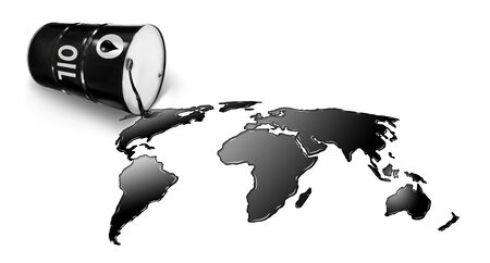 Metal oil barrels. Oil, gas and petroleum industry and manufacturing. 3D Illustration Reklamní fotografie