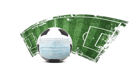Euro soccer cancellation event concept. Ball with coronavirus mask Standard-Bild