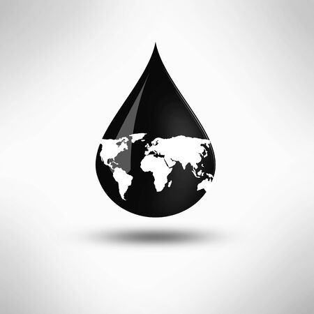 Black petrol drop. Oil, gas and petroleum industry and manufacturing. 3D Illustration