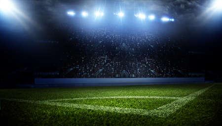 Football stadium, shiny lights, view from field. Soccer concept Stockfoto