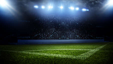 Football stadium, shiny lights, view from field. Soccer concept Imagens