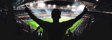 Football stadium, shiny lights, view from field. Soccer concept Foto de archivo