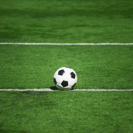 Traditional soccer game with a leather ball Zdjęcie Seryjne