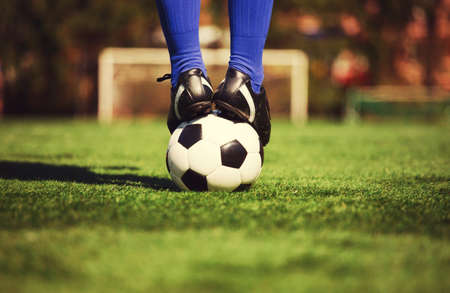 Traditional soccer game with a leather ball Imagens