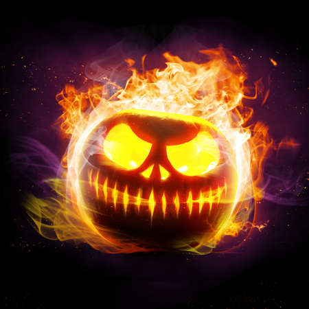 Halloween Scary Face. Beautiful holiday autumn composition.