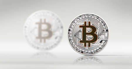 Cryptocurrency concept. Trends in bitcoin exchange rates. Rise and fall of bitcoin. Stock Photo