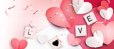 Valentine's Day background. Concept of human emotions, love, relations and romantic holidays. 3d illustration