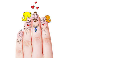 Painted happy fingers smiley in love. Happy family concept