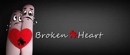 Heartbreak concept with broken heart. Separation and divorce. 3d illustration