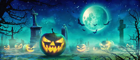 Halloween background with pumpkin in a spooky night.