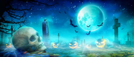 Halloween background with skull in a spooky night.