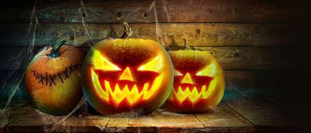 Halloween pumpkin head. Halloween decoration and background.