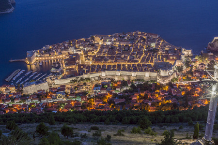Dubrovnik Aerial View at night