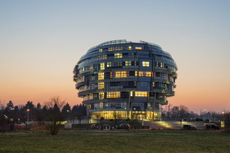 ini: Hannover, Germany - March 19, 2015: The International Neuroscience Institute INI was designed to resemble the human brain. It was constructed at the occasion of the EXPO2000.
