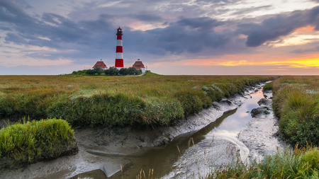 westerheversand lighthouse: Westerhever Lighthouse Stock Photo