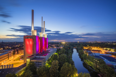 Hannover-Linden Power Plant at evening