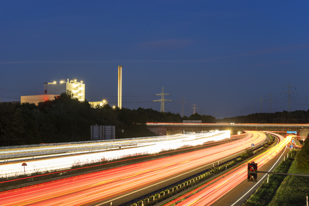 highway: Highway A2 in Hannover, Germany at night in long exposure with traffic Stock Photo