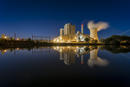 powerplant: Power Plant Stoecken by Hannover in Germany at night