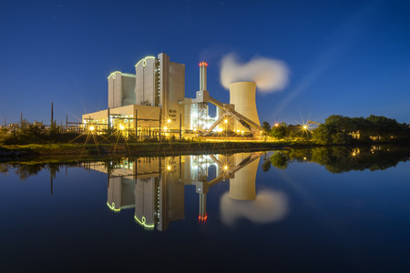 Power Plant Stoecken by Hannover in Germany at night
