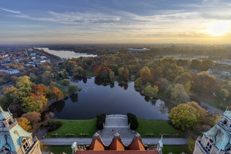 Maschsee. Aerial view of Hannover from observation platform of new city hall. at foggy evening Standard-Bild