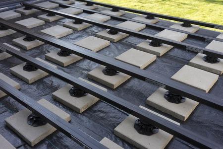 floor coverings: construction of a wood plastic composite garden terrace