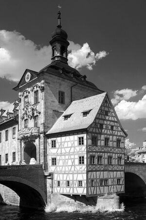 half timbered house: Bamberg Rathaus in greyscale. Bavaria. Germany.