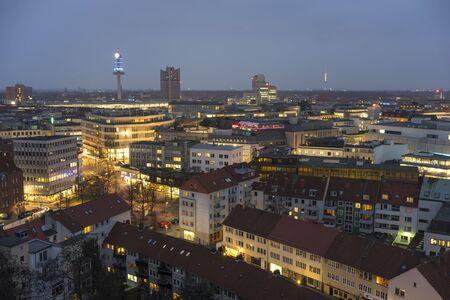 Aerial view of Hannover at evening. Lower Saxony. Germany.