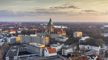 Aerial view of the City Hall of Hannover at evening, Germany Stok Fotoğraf