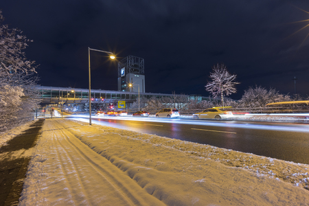 Street view of Hannover at winter evening. Germany