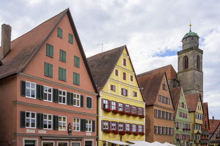 Street view of Dinkelsbuhl, one of the archetypal towns on the German Romantic Road. Bavaria. Germany.