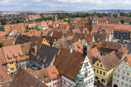 Aerial view of Rothenburg ob der Tauber, a well-preserved medieval old town in Middle Franconia on popular Romantic Road through southern Germany. Stok Fotoğraf