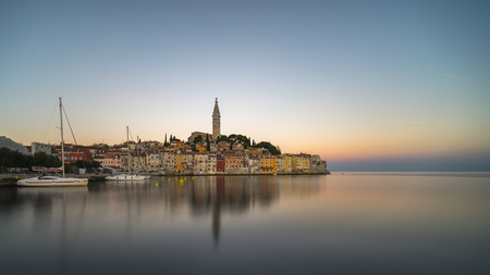 Panoramic view on old town Rovinj in Istria, Croatia. Stok Fotoğraf
