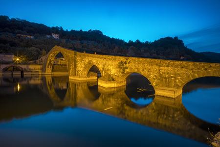 Ponte del Diavolo near the town of Borgo a Mozzano in the Italian province of Lucca